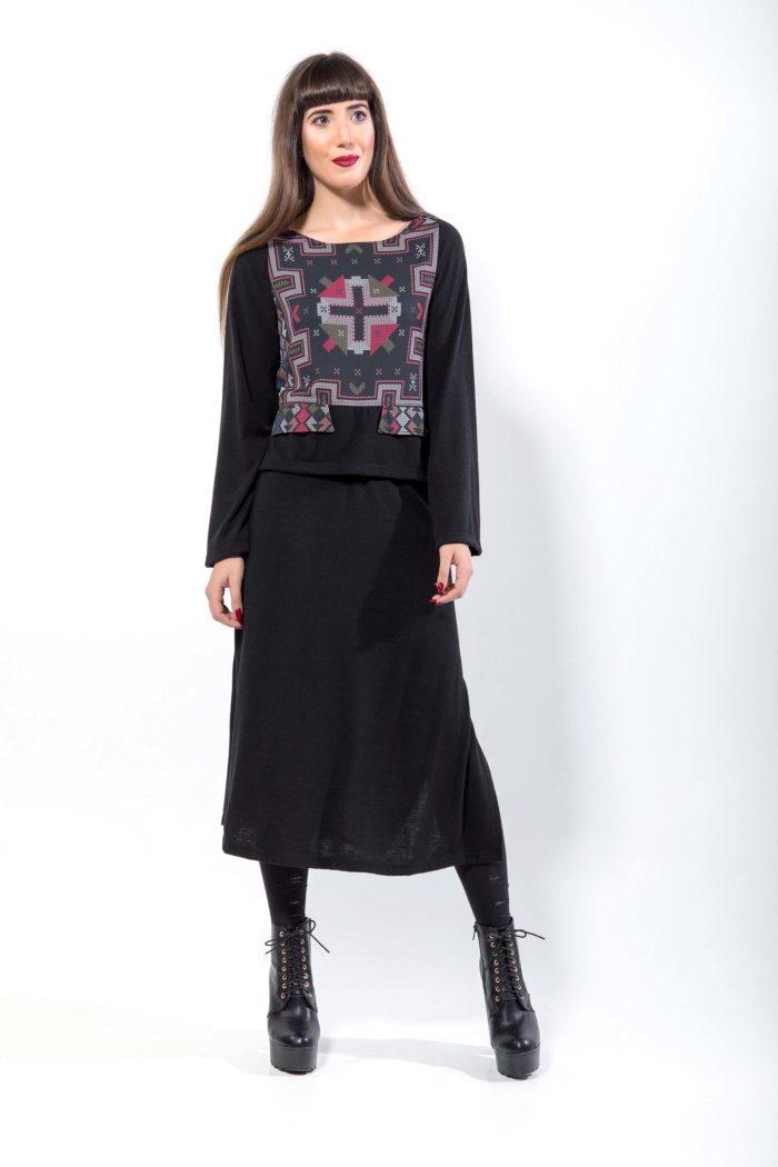 Πλεκτή φούστα, midi, με σκισίματα