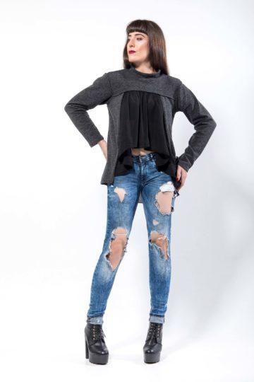 Πλεκτή μπλούζα, ζιβάγκο, με μακρύ μανίκι και ασύμμετρο μήκος