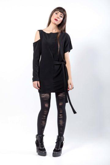 Πλεκτό μπλουζο-φόρεμα, ασύμμετρο δεξιά -αριστερά