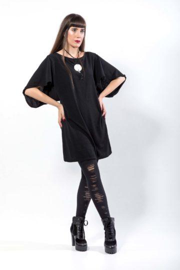 Πλεκτό φόρεμα , με μανίκι με σχέδιο, V- line στην πλάτη